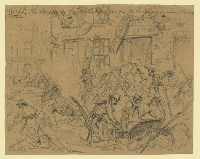 Night. The sacking of Fredericksburg-- & biovace[sic]of Union troops
