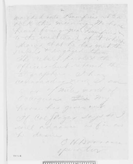 O. H. Dorrance to Anson Stager, Friday, December 12, 1862  (Telegram concerning military affairs)