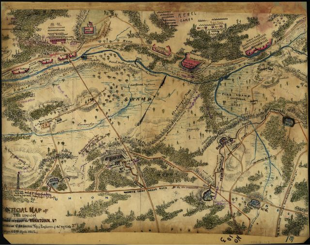 Official map of the Union works in front of Yorktown, Va.