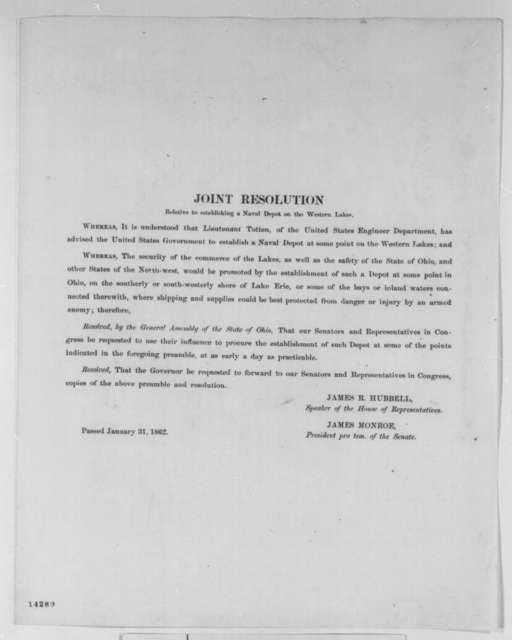Ohio Legislature, Friday, January 31, 1862  (Printed resolution)