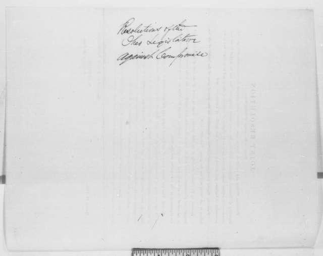 Ohio Legislature, Friday, March 14, 1862  (Printed Resolution)