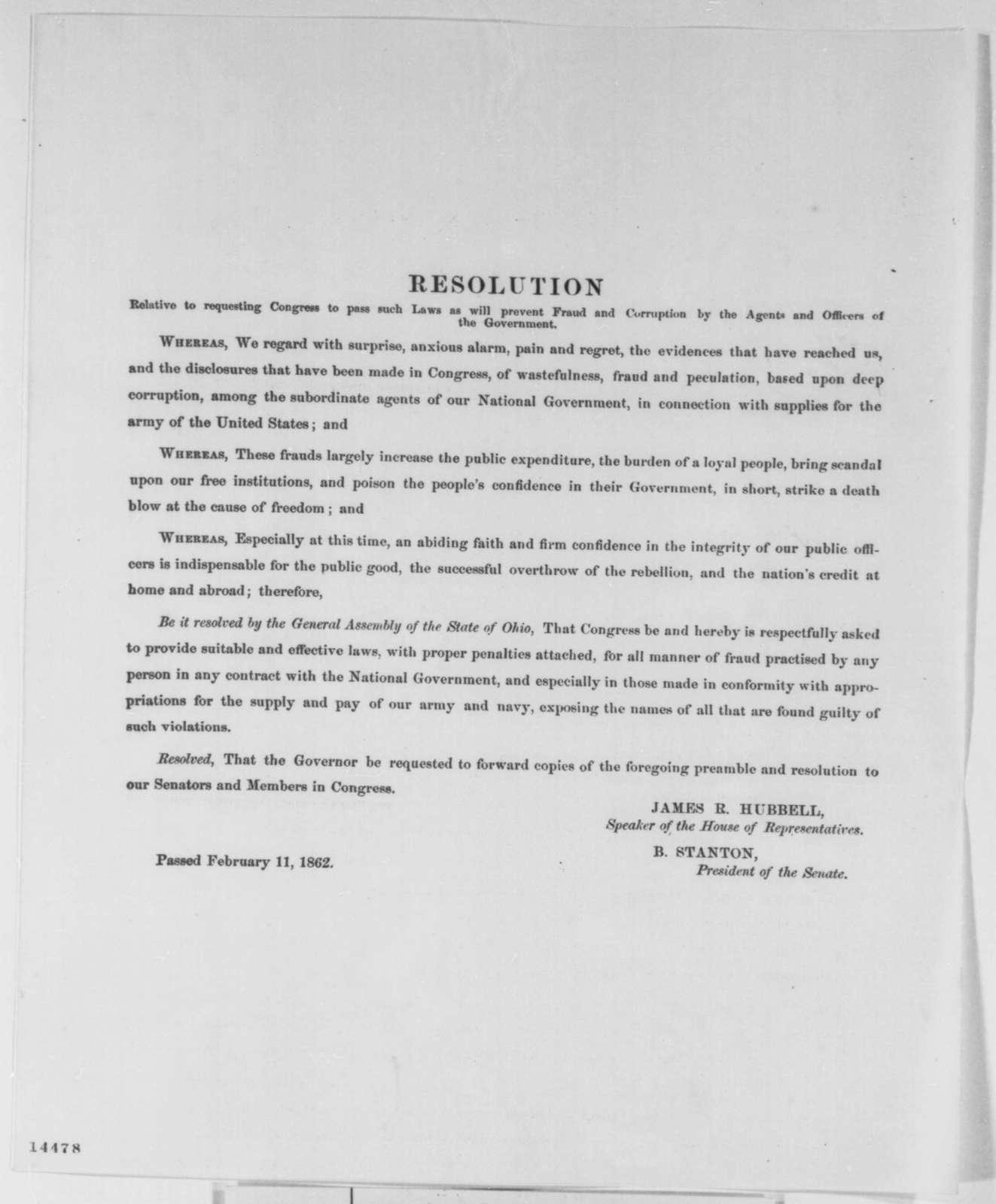 Ohio Legislature, Tuesday, February 11, 1862  (Printed Resolution)