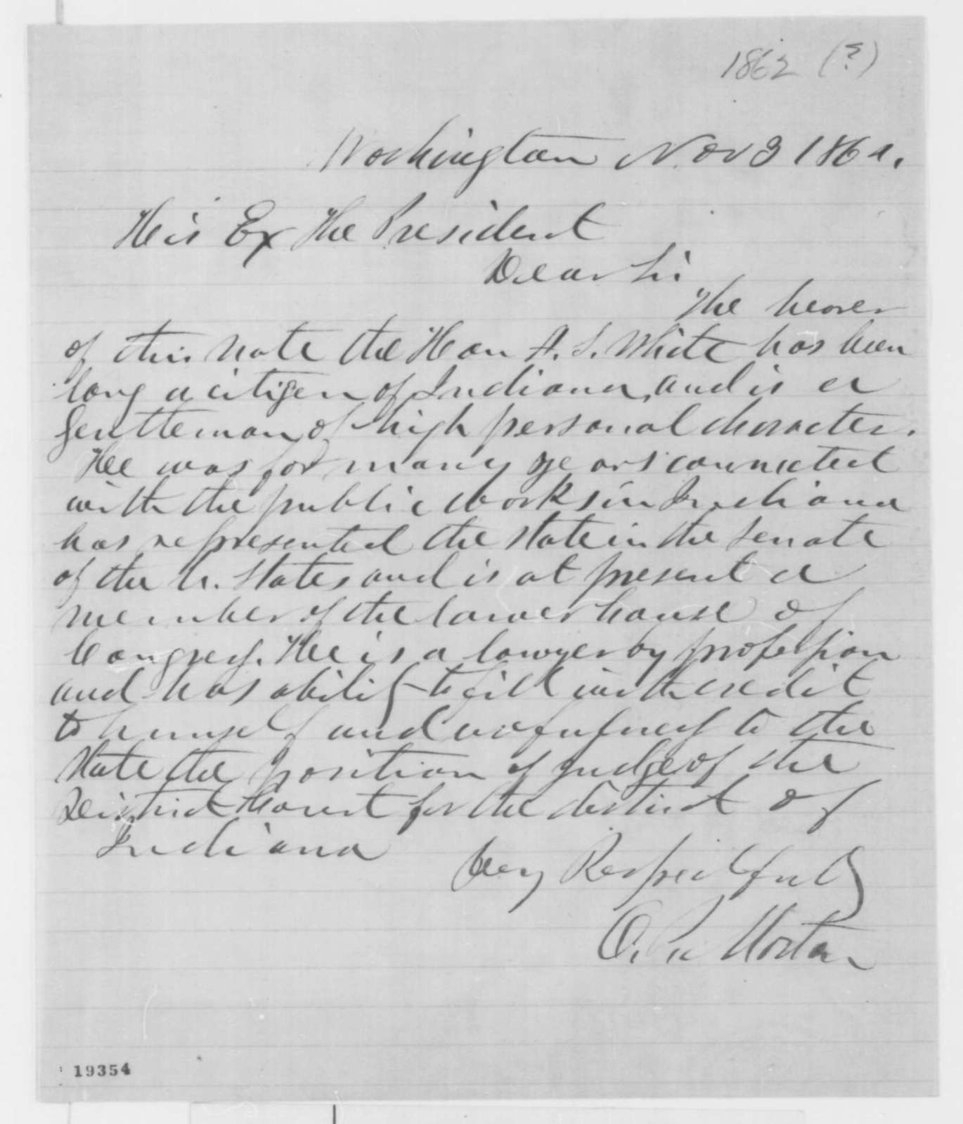 Oliver P. Morton to Abraham Lincoln, Monday, November 03, 1862  (Introduction)