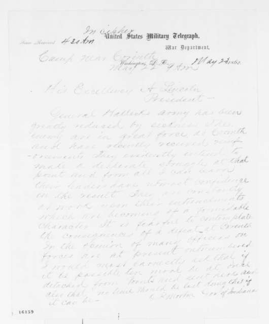 Oliver P. Morton to Abraham Lincoln, Thursday, May 22, 1862  (Telegram requesting reinforcements at Corinth)