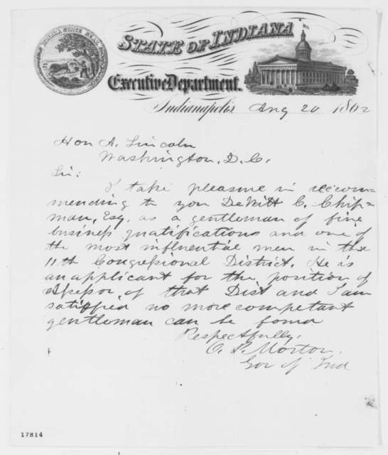 Oliver P. Morton to Abraham Lincoln, Wednesday, August 20, 1862  (Recommendation)