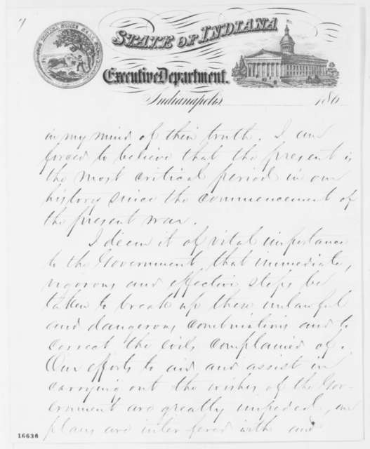 Oliver P. Morton to Edwin M. Stanton, Wednesday, June 25, 1862  (Copperheads in Indiana)