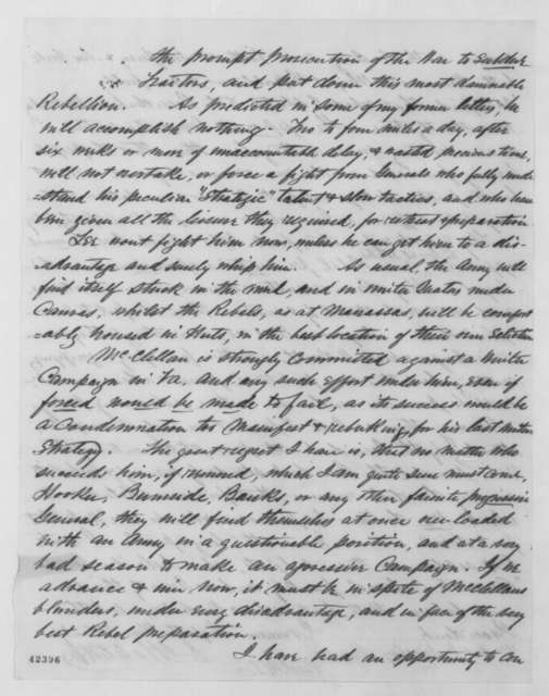 Oliver S. Halsted Jr. to John G. Nicolay, Friday, November 07, 1862  (Complaints against General McClellan)