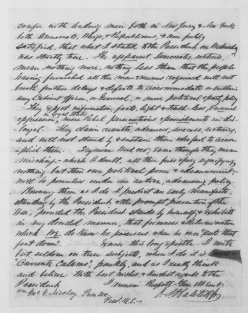 Oliver S. Halsted Jr. to John G. Nicolay, Friday, November 07, 1862  (Complaints against General McClellan)