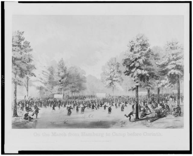 On the march from Hamburg to camp before Corinth / sketched by A.E. Mathews, 31st Reg't O.V.I. ; lithographed by Middleton, Strobridge & Co., Cincinnati.