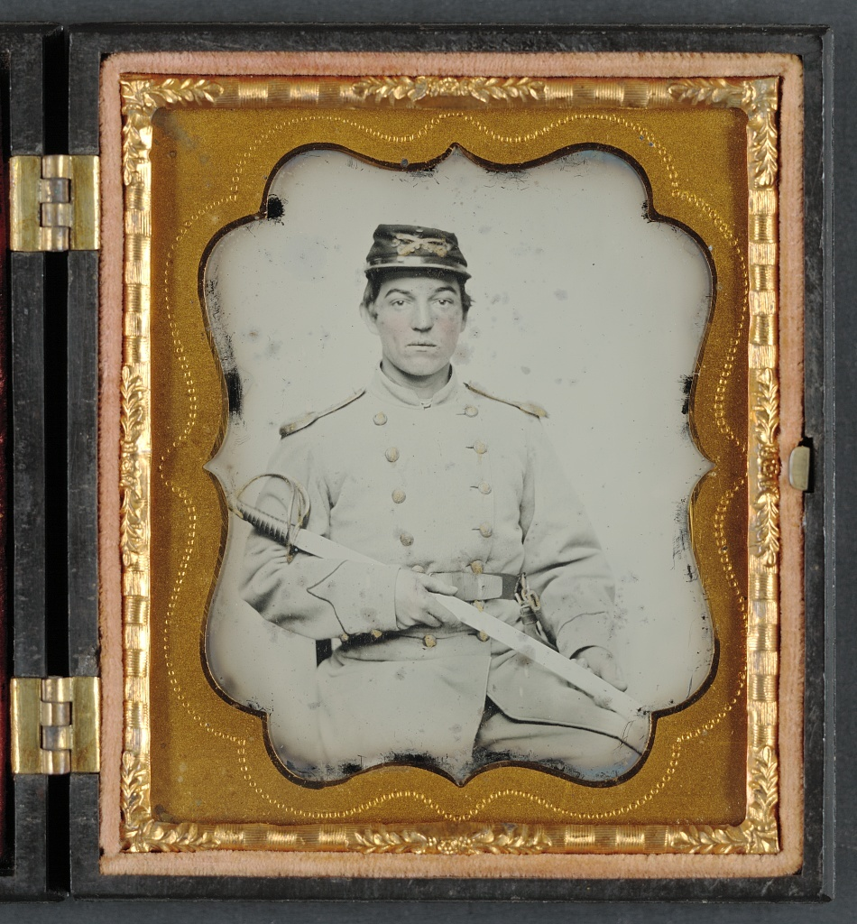 [Oney S. A. Brock of Company I, 5th Virginia Cavalry Regiment with knife and sword]