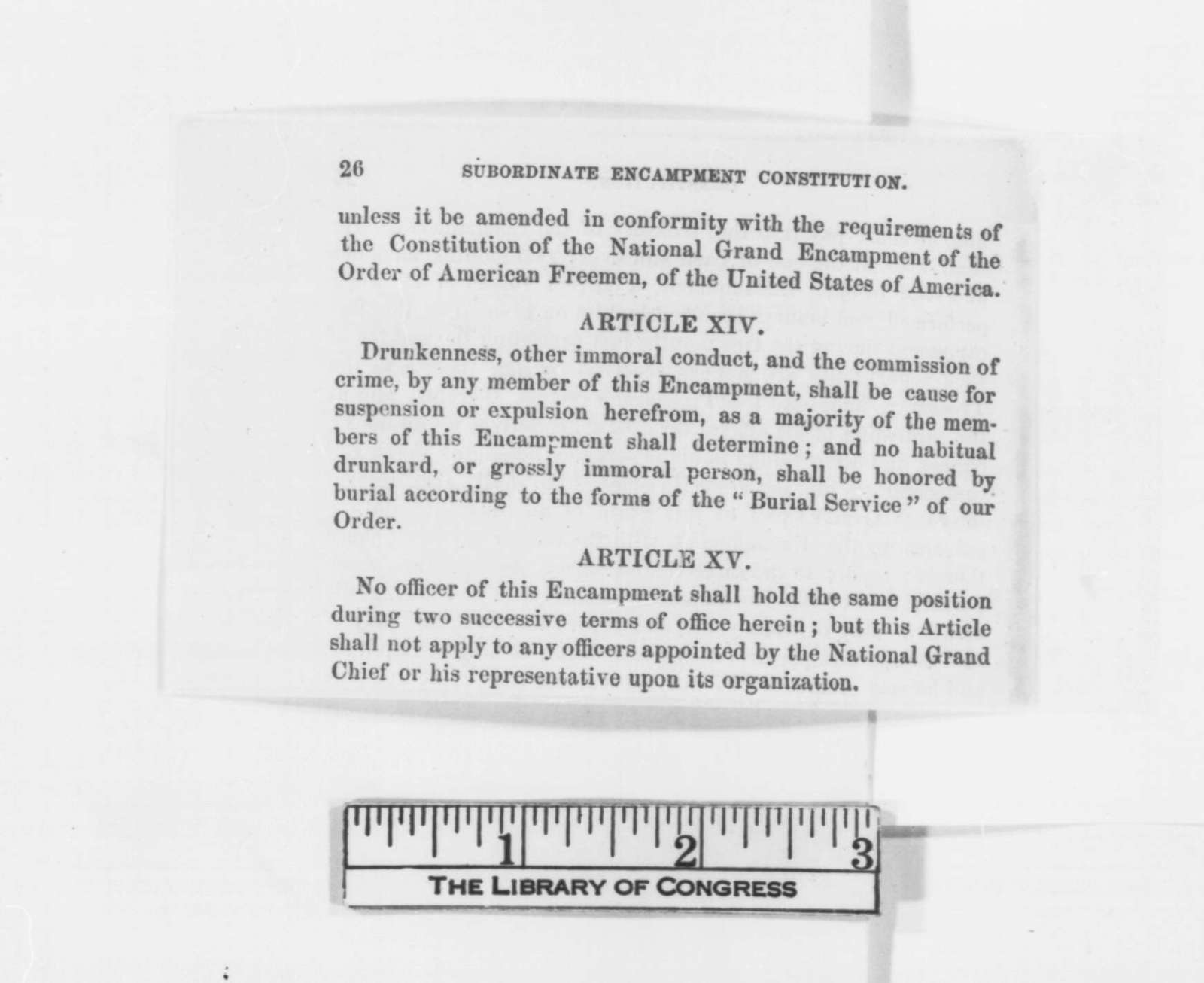 Order of American Freeman, Wednesday, January 01, 1862  (Pamphlet)