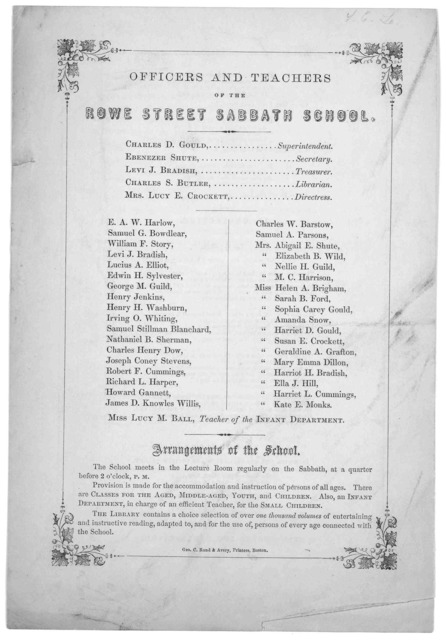 Order of Exercises at the thirty-fourth anniversary of the Rowe Street Sabbath School, on Sunday, May 11, 1862 at three o'clock. P. M ... Boston. Geo C. Rand & Avery printers. [1862].
