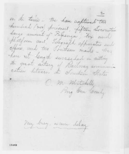 Ormsby M. Mitchel to Lorenzo Thomas, Saturday, April 12, 1862  (Telegram regarding military affairs)