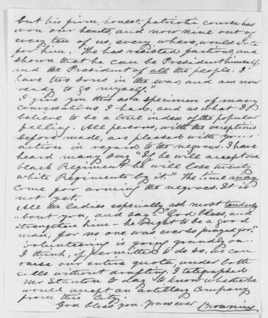 Orville H. Browning to Abraham Lincoln, Monday, August 11, 1862  (Public sentiment in Illinois)