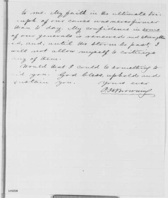 Orville H. Browning to Abraham Lincoln, Wednesday, September 10, 1862  (Support)