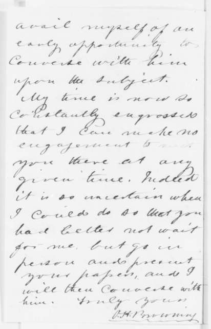 Orville H. Browning to Anna E. Carroll, Wednesday, June 25, 1862  (Recommends she present her case to Lincoln)
