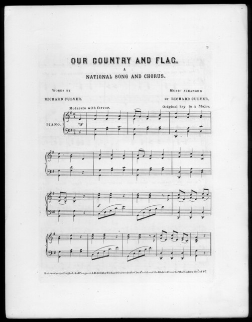 Our country and flag, a national song and chorus