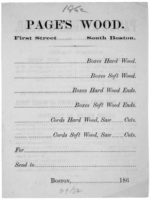 Page's kindling wood. First street. South Boston, Terms cash. Hard wood ... Soft wood [1862].