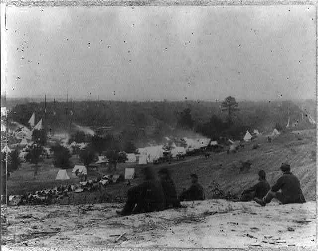 Panoramic view of encampment of Army of Potomac at Cumberland Landing, on Pamunkey River, May 1862