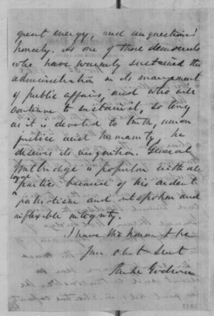 Parke Godwin to Abraham Lincoln, Sunday, November 30, 1862  (Recommendation)