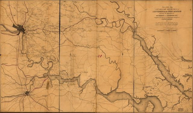 Part of the map of the military department of S.E. Virginia and Fort Monroe, showing the approaches to Richmond and Petersburg