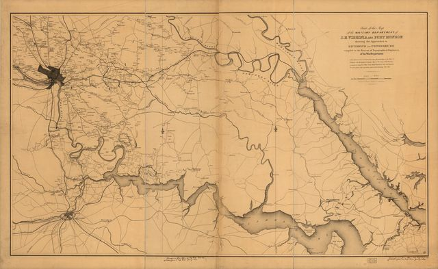 Part of the map of the military department of S.E. Virginia and Fort Monroe showing the approaches to Richmond and Petersburg