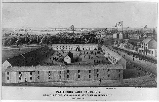 Patterson Park Barracks, occupied by the National Guard (90th regt, p.v.) col. Petro Lyle