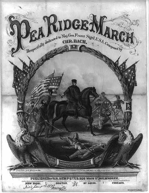 Pea Ridge march.  Respectfully dedicated to Maj. Gen. Franz Sigel, U.S.A.  Composed by Chr. Bach / Lith. by L. Kurz & Co., Milwaukee, Wis.