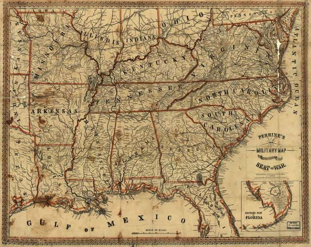Perrine's New military map illustrating the seat of war : [southern U.S.]