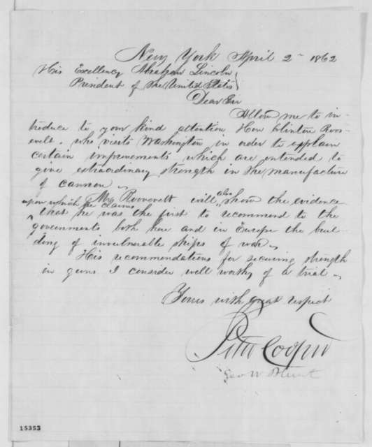 Peter Cooper and George W. Blunt to Abraham Lincoln, Wednesday, April 02, 1862  (Introduction)