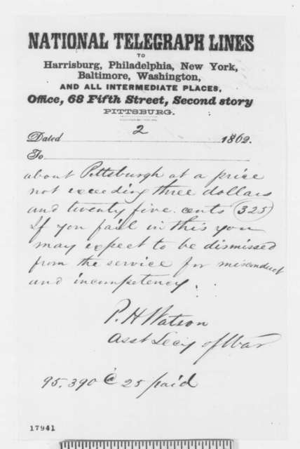 Peter H. Watson to John Symington, Saturday, August 23, 1862  (Telegram concerning purchase of supplies)