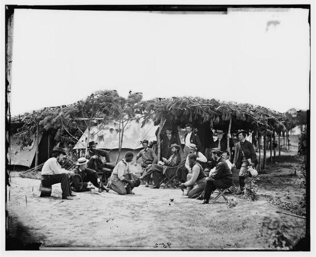 "Petersburg, Virginia. ""Cock fighting"" at Gen. Orlando B. Willcox's headquarters"
