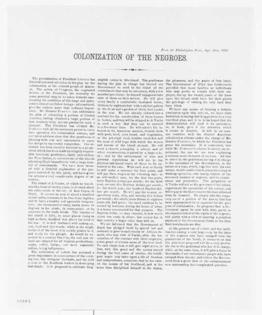 "Philadelphia Press, Friday, September 26, 1862  (""Colonization of the Negroes"")"