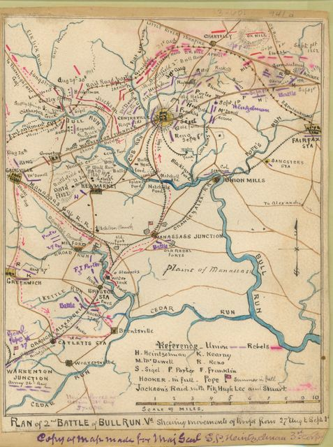 Plan of 2nd battle of Bull Run, Va. : Shewing movements of troops from 27 Aug. to Sept. 1.