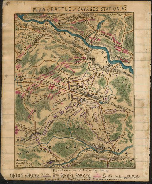 Plan of Battle of Savage's Station Va.
