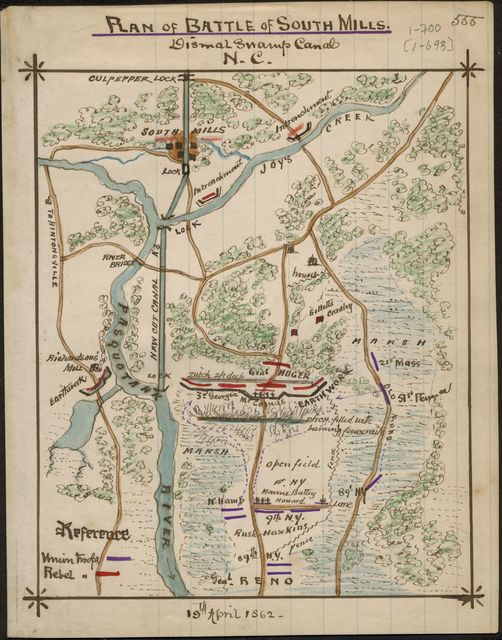 Plan of Battle of South Mills. Dismal Swamp Canal, N.C.