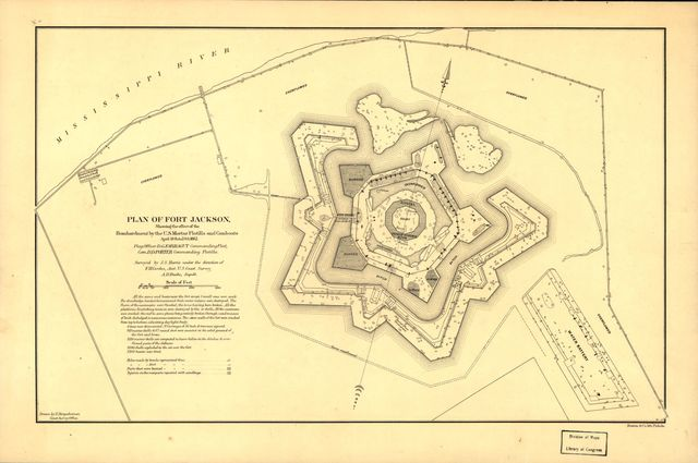 Plan of Fort Jackson, showing the effect of the bombardment by the U.S. mortar flotilla and gunboats, April 18th to 24th 1862 : flag officer D.G. Farragut commanding fleet, Com. D.D. Porter commanding flotilla /