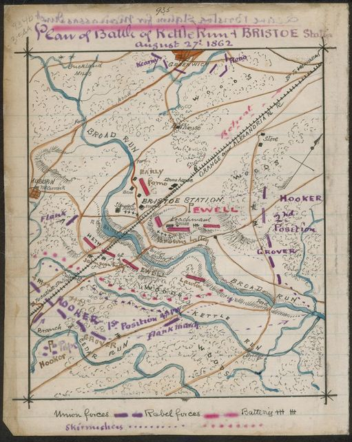 Plan of Kettle Run and Bristoe Station August 27 1862.