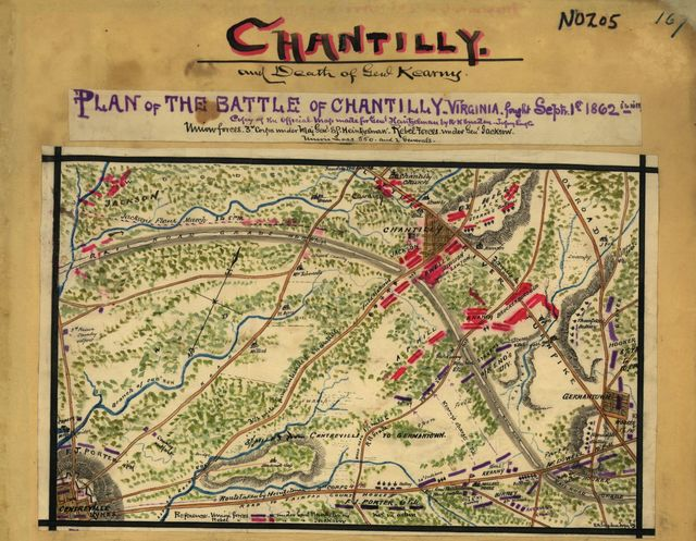 Plan of the battle of Chantilly, Virginia. Fought Septr. 1st 1862, 5 to 10 PM.