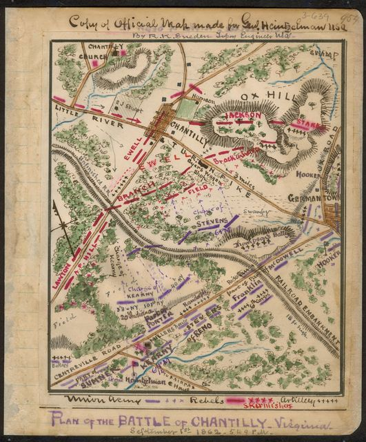 Plan of the Battle of Chantilly, Virginia : September 1st 1862 5 to 9 p.m.