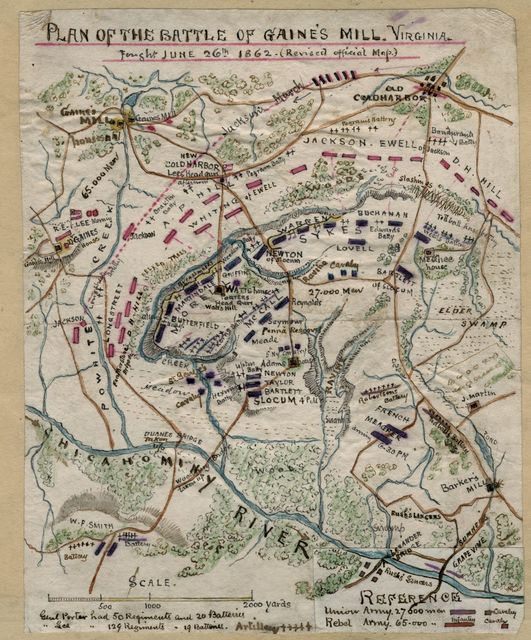 Plan of the Battle of Gaines' Mill, Virginia, fought June 26th 1862.