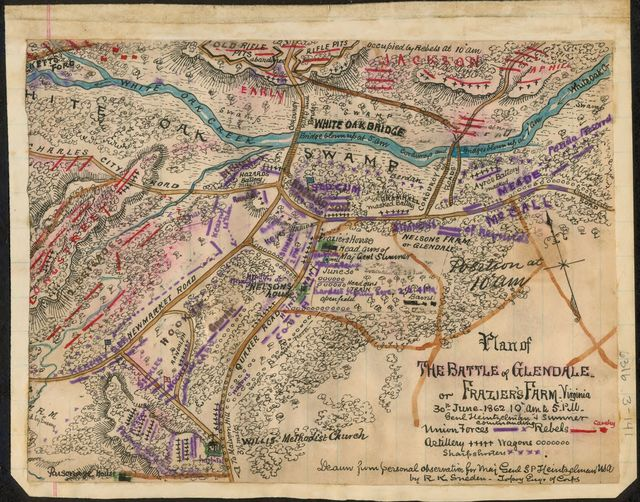 Plan of the Battle of Glendale or Frazier's Farm. Virginia. 30th June 1862 10 a.m. to 5 p.m. Genl Heintzelman and Sumner commanding.