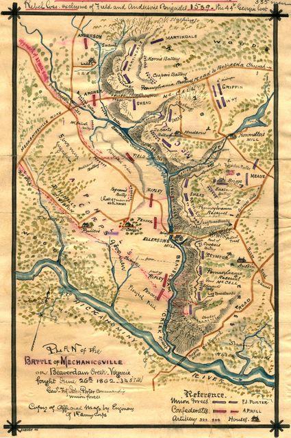 Plan of the Battle of Mechanicsville or Beaverdam Creek, Virginia : fought June 26th 1862, 3 to 5 p.m.