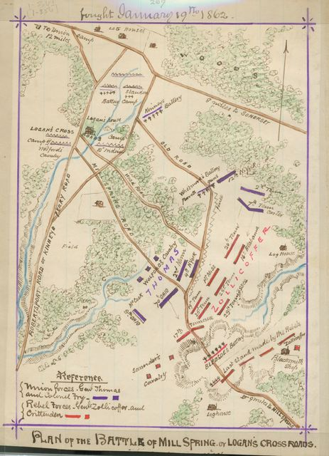 Plan of the battle of Mill Spring or Logan's Cross Roads : fought January 19th, 1862.