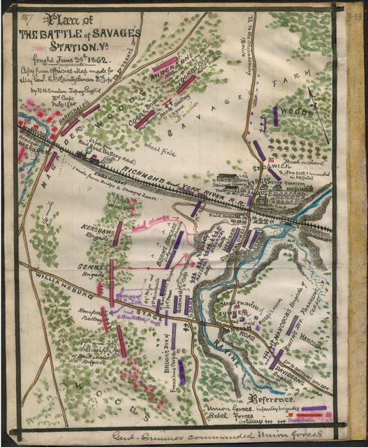 Plan of the Battle of Savage's Station Va. Fought June 29th 1862.