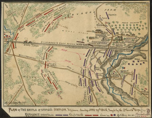 Plan of the Battle of Savage's Station Virginia. Sunday, June 29th 1862. Fought by the 2nd and 6th Corps.