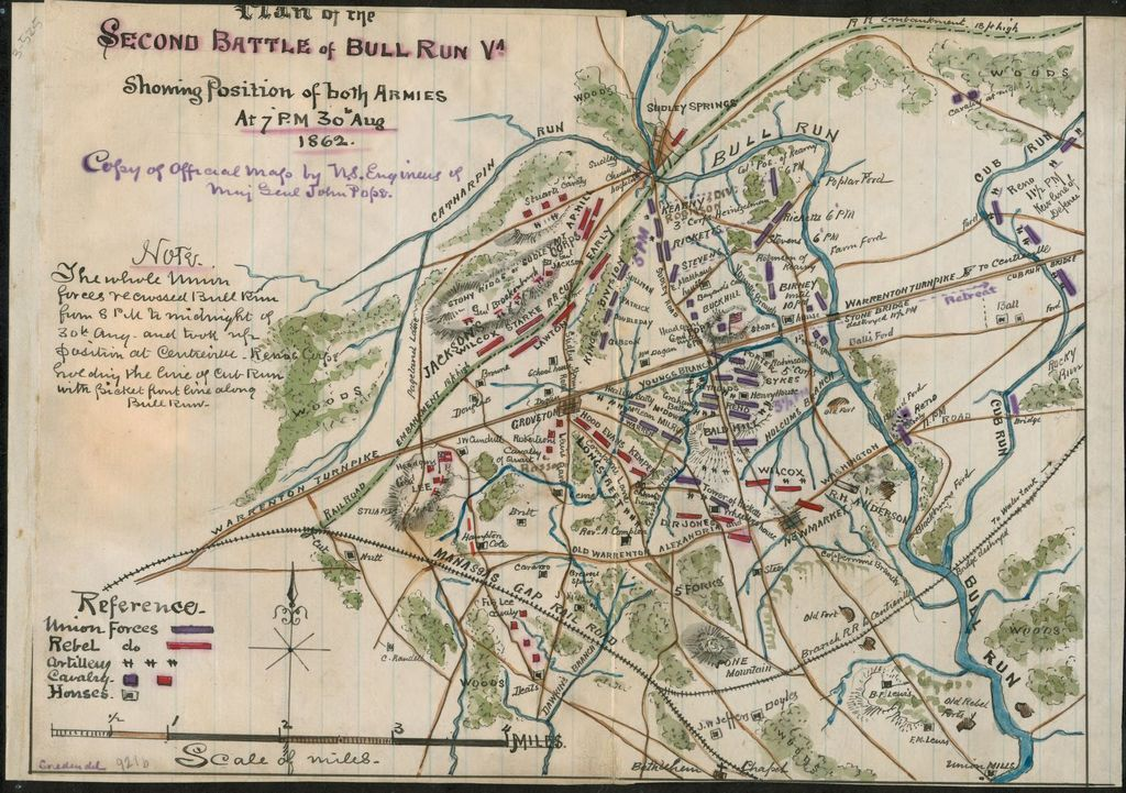Plan of the second Battle of Bull Run Va. Showing position of both armies at 7 p.m. 30th Aug. 1862.