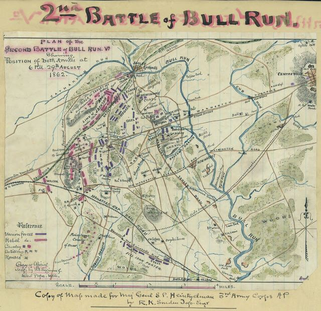 Plan of the Second Battle of Bull Run, Va. Showing position of both armies at 6 p.m. 29th august 1862.