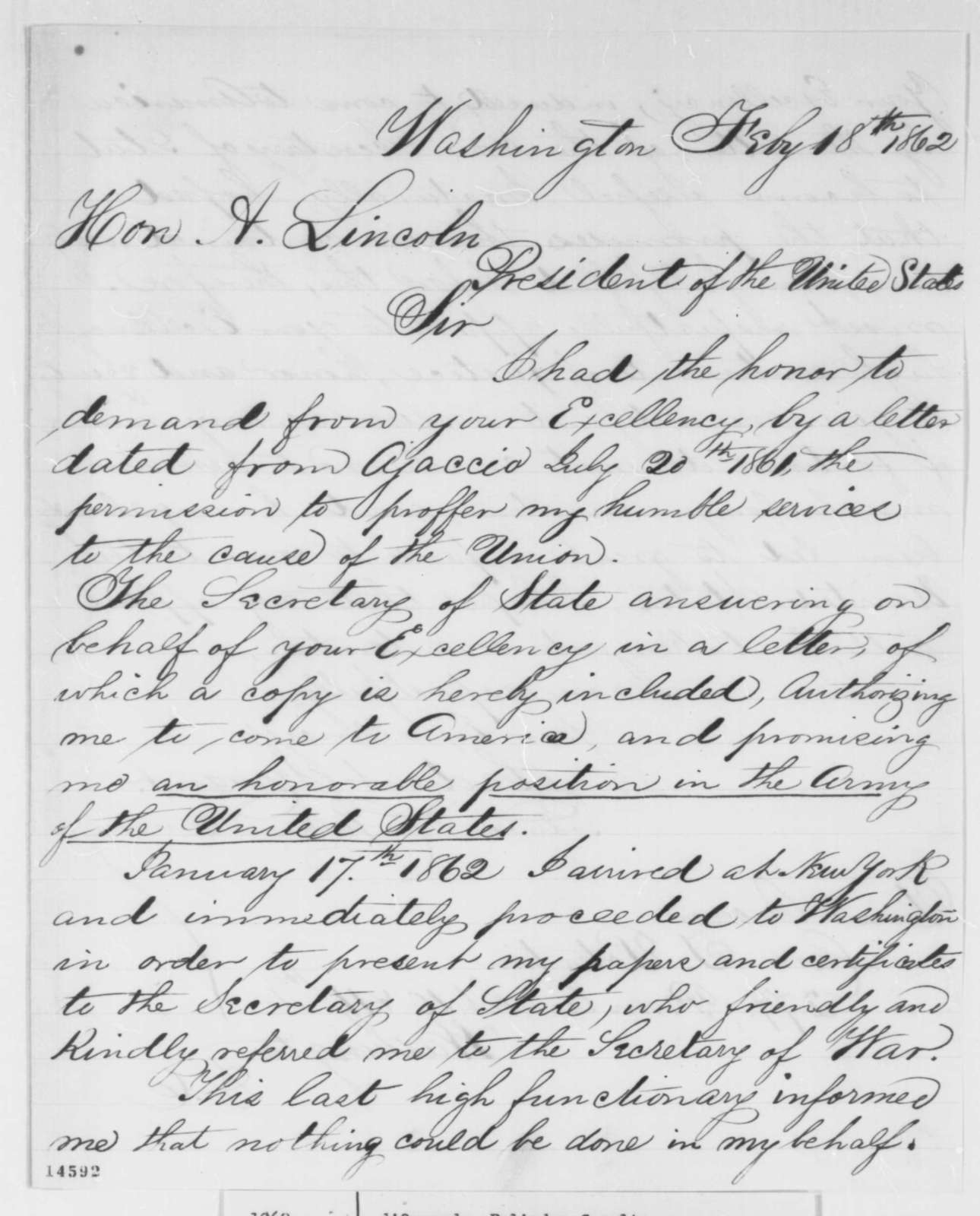 Polindor C. D'Ornano to Abraham Lincoln, Tuesday, February 18, 1862  (Offers his services to the government)
