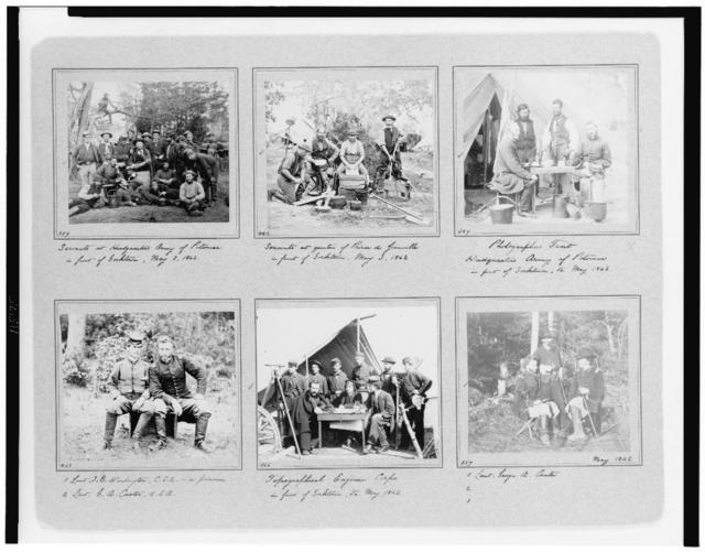 [Portrait photographs of soldiers and servants from various Union headquarters; also shows photographer's tent, topographical engineer corps, and portraits of George A. Custer]